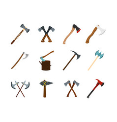 axe icon set flat style vector image