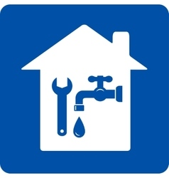 blue plumbing symbol with house vector image vector image