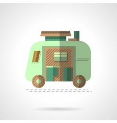 Flat color camping trailer icon vector image
