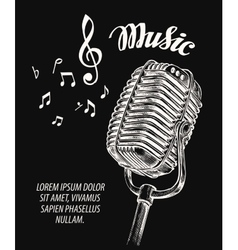Hand drawn vintage microphone vector image vector image