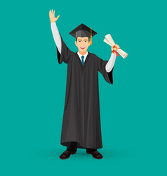 degree graduate student in mantle gown holds vector image vector image
