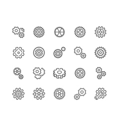 Line Gear Icons vector image