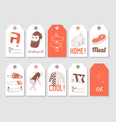 lumberjack hand drawn tags collection vintage vector image