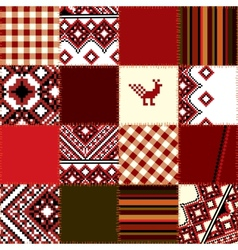 Patchwork of ethnic embroidery vector image