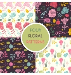 Seamless floral pattern set vector image