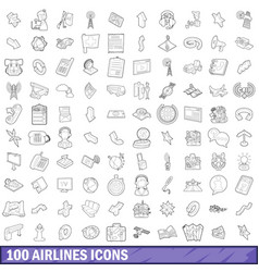 100 airlines icons set outline style vector