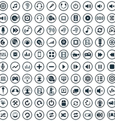 100 dj icons vector