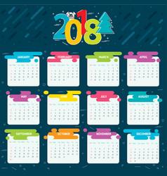2018 calendar grid for a year vector