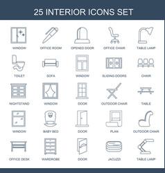 25 interior icons vector