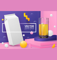 3d abstract scene with juice box glass vector