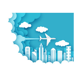 Air flight layered paper cut style vector