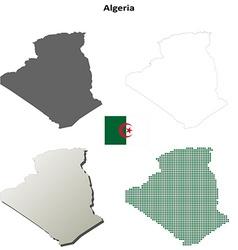 Algeria outline map set vector