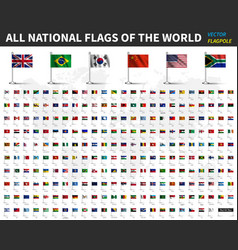 all national flags of the world realistic waving vector image
