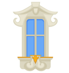 Architecture design rococo style window with gold vector