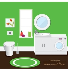 Bathroom interior volume Green background vector image