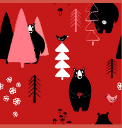 Bear in the forest seamless pattern vector