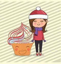 beautiful girl with cupcake kawaii characters vector image