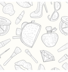 beauty and fashion seamless pattern makeup vector image
