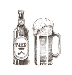 Beer bottle and glass cup vector