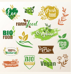 Bio eco products label collection set of emblems vector