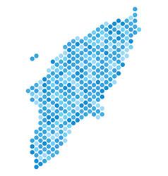 Blue dot greek rhodes island map vector