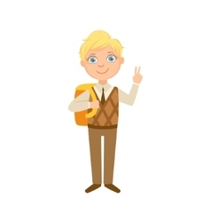 Boy in brown vest and trousers with backpack happy vector