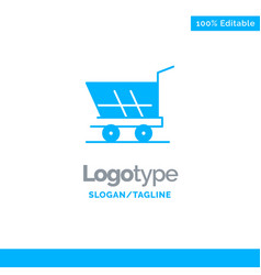 cart trolley shopping buy blue solid logo vector image