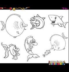 Cartoon fish set coloring book vector