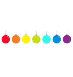 christmas ball icon set line rainbow color happy vector image