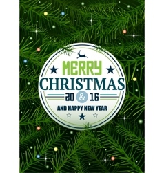Christmas pine background with lights and stars vector image
