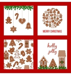 Christmas set Xmas theme in boarded squares with vector image vector image