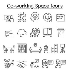 Co-working space icon set in thin line style vector