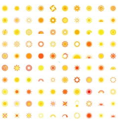 collection of one hundred sun logo vector image
