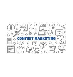 content marketing thin line horizontal vector image