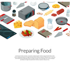 Cooking food isometric objects vector