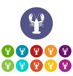 Crayfish set icons vector