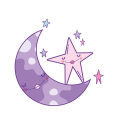 Cute moon cartoon vector