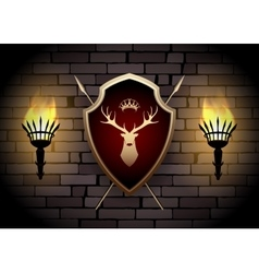 deer shield with torches on wall vector image