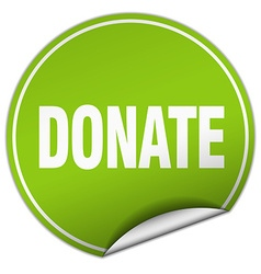 donate round green sticker isolated on white vector image
