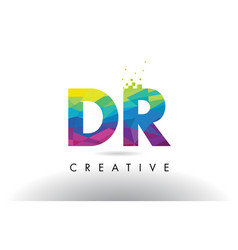 Dr d r colorful letter origami triangles design vector