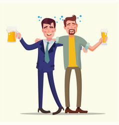 Drunk office man funny friends relaxing vector