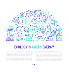 ecology and green energy concept in half circle vector image