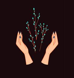 Elegant hand drawn palms poster-05 vector