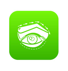 Eyelid elevation icon green vector
