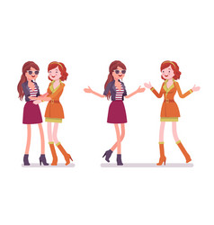 Female close friends greeting vector