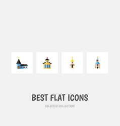 Flat icon church set of structure christian vector