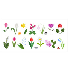 Flower flat icon set isolated on white cute vector