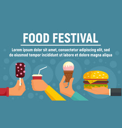 Food festival concept banner flat style vector
