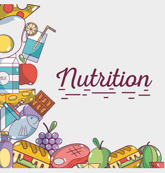 food natural nutricion ingredients background vector image