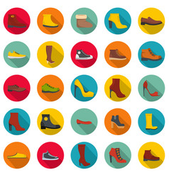 footwear shoes icon set flat style vector image